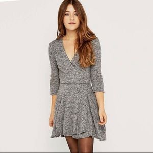 KIMCHI BLUE sweater skater wrap dress gray L